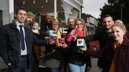Business owners and BID manager Tom Hardy get behind the launch of the Hitchin Reuse, Refill cups at