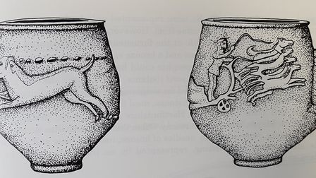 A drawing of a drinking cup found at Chells embossed with a hunting scene.Picture: Hertfordshire Arc