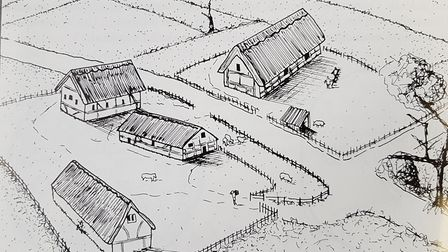 An artist's impression of what the Roman farmstead may have looked like. Picture: Hertfordshire Arch