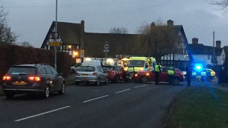 The scene after the crash at the junction of Green Lane and Norton Road in Letchworth. Picture: Stev