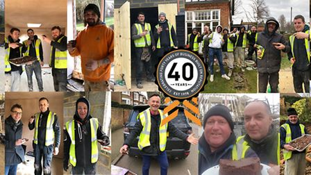 DB Sharp director David Sharp delivers cake to the company's on-site teams on the 40th birthday. Pic