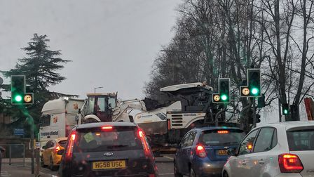 A lorry from the Lucas Lane development reverses out of Oughtonhead Road in Bedford Road. Picture: R
