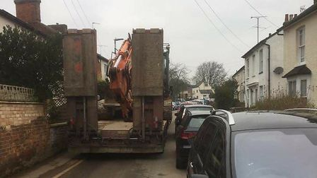 A heavy vehicle makes its way to the Lucas Lane site. Picture: Michelle Jackson