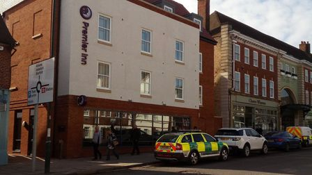 Emergency personnel outside the Premier Inn hotel in Letchworth's Station Road. Picture: @TheGreen_H