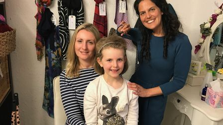 Tiggy Smallwood with her mum Sam (left) and founder of Cancer Hair Care Jasmin Julia Gupta. Picture:
