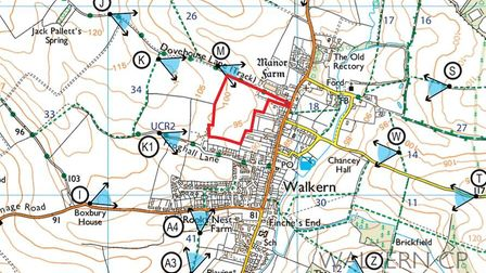 The plot for the proposed development of 105 homes in Walkern.