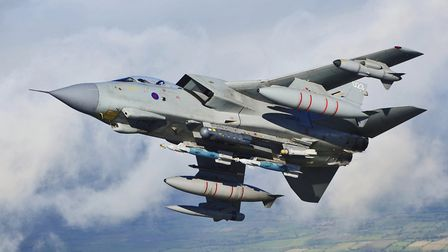 A IX(B) Sqn Tornado GR4 training for deployment to Afghanistan in 2012, armed with Brimstone missile