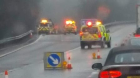 The crash on the A1(M) involving a Land Rover. Picture: Supplied