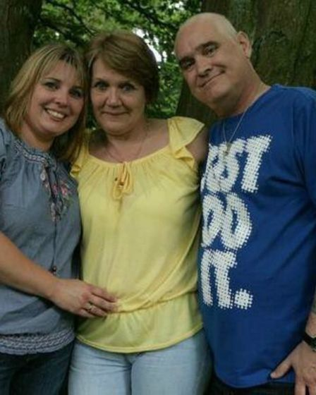 Donna Lee with her late parents Carol and Phillip, who both died of cancer. Picture: Courtesy of Don