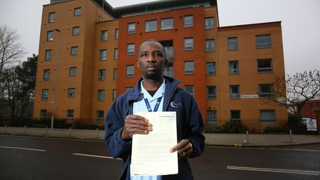 Carer Eugene Nebechi received a parking ticket for going over the 20 minute stay allowed at Pinetree