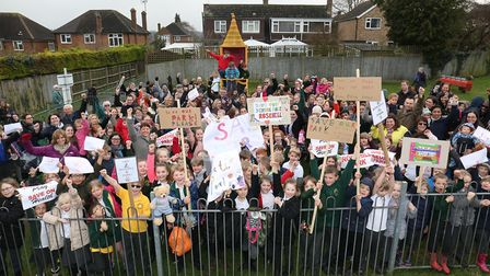 Families protest against the potential closure of Rosehill play area last year. Picture: Danny Loo