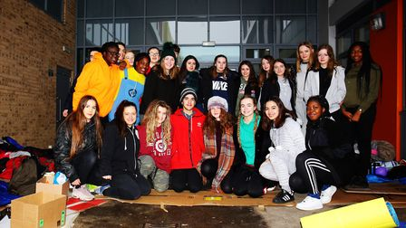The Nobel School staff and year 12 and 13 pupils after their sponsored sleep-out in aid of the chari