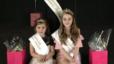 Biggleswade's 2018 Carnival Court - Carnival Queen Kaci-Mai Wood, 12, with Princess Izzy Walker and