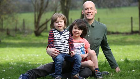 Andy Patterson, with sons Henry, (right), five, and Stanley (left), three, who has Kawasaki disease,