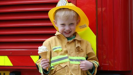 Thomas Evans, three, at the Hertfordshire Fire & Rescue Longfield Open Day. Picture: DANNY LOO