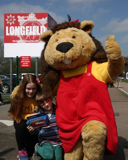 Katy, 10, and Thomas Howarth, six, at the Hertfordshire Fire & Rescue Longfield Open Day. Picture: D