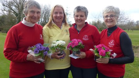 Bourn Golf Club's Linda Brown, Lindy Clemow, Jackie Francis and Mel Owers celebrate their success