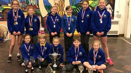 All the Whitehill gymnasts: Sophie Beach, Lily Manning, Max Barton, Eve Spencer, Isobel Dean, Lola B