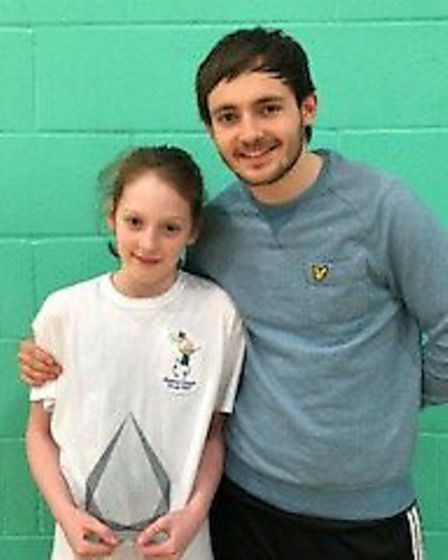Emily Halford with coach Charlie Jefferies. Picture: Penny Halford