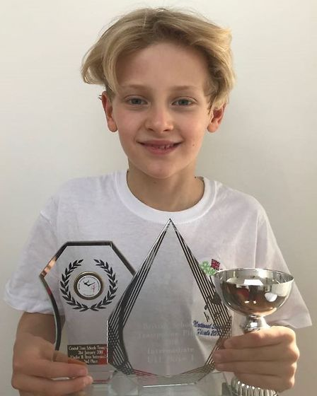 Charlie Fenn with his trophies. Picture: Penny Halford