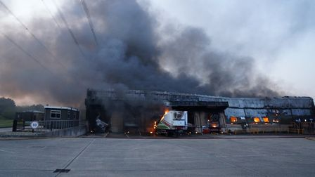 The scene at Bedfordshire Growers near Biggleswade during the fire last night. Picture: Bedfordshire