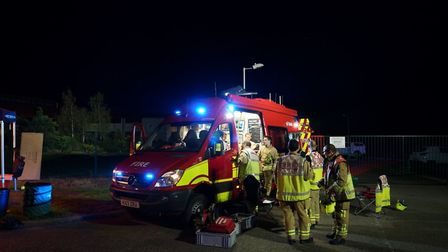 Emergency personnel on the scene at Bedfordshire Growers near Biggleswade during the fire last night