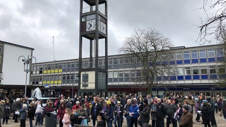 The Good Friday service in Stevenage, following the Walk of Witness from the Old Town. Picture: Shar