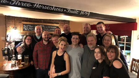 Cast and crew from the new sitcom Lee and Dean gathered at the Three Horseshoes in Willian to celebr