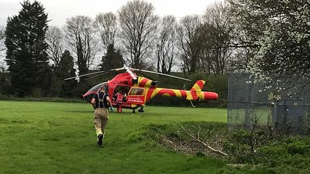 The air ambulance on the scene in Letchworth. Picture: Steve Barker