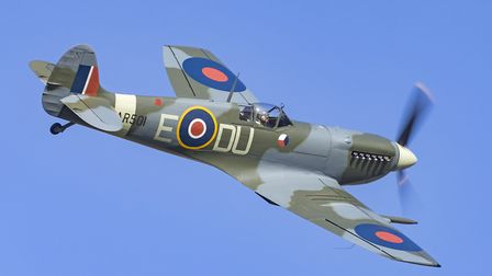 The Shuttleworth Collection's Spitfire AR501 during its maiden flight following its restoration. It