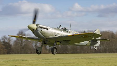 The Shuttleworth Collection's Spitfire AR501 during its maiden flight following its restoration. Pic