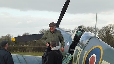 Climbing into the Shuttleworth Collection's restored Spitfire AR501. Picture: Ciara Harper