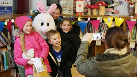 Children meet the Easter bunny at the Easter Eggstravaganza at Mary Exton School, Hitchin. Picture: