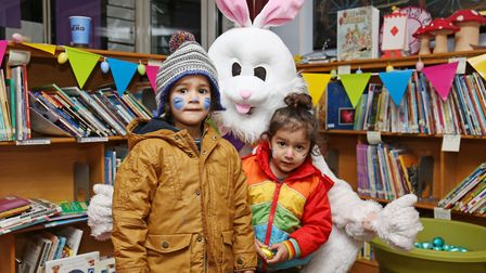 Sehaj, four, and Adarsh, two, at the Easter Eggstravaganza at Mary Exton School, Hitchin. Picture: D
