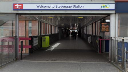 Stevenage railway station, where the suspected paedophile was arrested. Picture: Harry Hubbard
