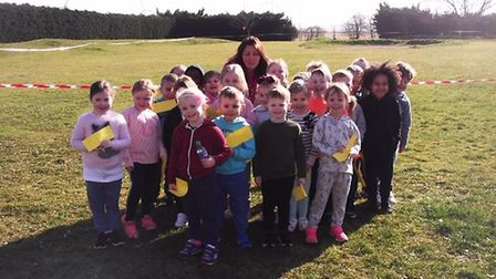 The children were very proud of themselves after completing their mile for Sport Relief. Picture: St