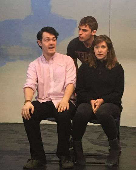 Mr Nixon, Bobby and Gail in The Stevenage Lytton Players' production of Teechers