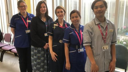 The East and North Herts NHS Trust's transplant co-ordinators with Dr Sarah Fluck (second left). Pic