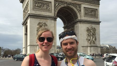 Steve Biggs with Claire Wrighton after he ran the Paris Marathon on Sunday. Picture: Steve Biggs