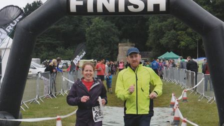 Hitchin Hard Half runner Anna Weller with her brother Ian at the Cotswold 24 Hour Race last year. Pi