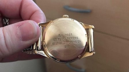 The watch can be easily recognised by the engraving on the back. Picture: Lisa Suthers