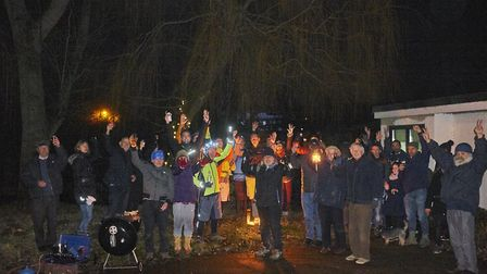 The Save The Windmill Campaign Group during their chestnut-roasting event outside the former pub. Pi