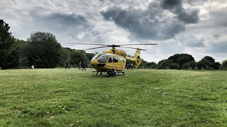 The air ambulance landed on the grass at the top of Chells Way in Stevenage. Picture: Gary Sanderson
