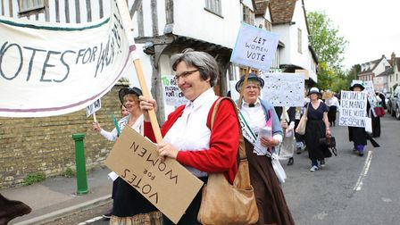 The Suffragette march at Ashwell at Home 2018..Picture: Karyn Haddon