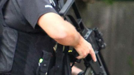 Armed police were outside a house in Hitchin for hours last night.