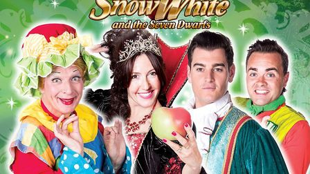 Snow White and the Seven Dwarfs pantomime cast members set for the Gordon Craig Theatre in Stevenage