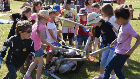 Walsworth Festival 2018: Youngsters enjoy the medieval fighting. Picture: Alan Millard