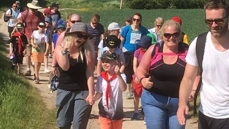 More than 300 people walked and enjoyed the sunshine for charity. Picture: Bob Mills