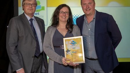 Comet Community Awards 2018: Teacher of the Year Caroline Merser with Malcolm Evely from sponsors Ai