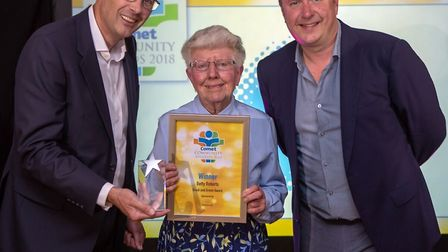 Comet Community Awards 2018: Betty Roberts, winner of the Great and Green award, with Tim Hodgson fr